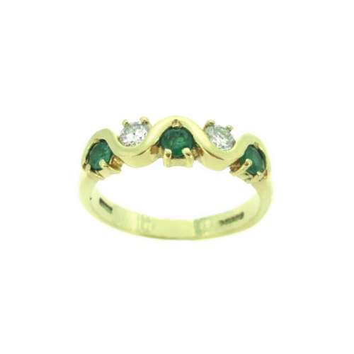 Emerald & Diamond Five Stone Ring