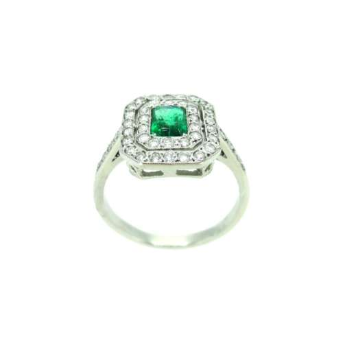 Emerald & Diamond Double Halo Ring