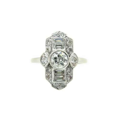 Diamond Art Deco Style Ring