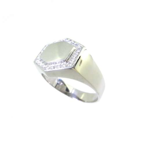 Gents White Gold Diamond Signet Ring