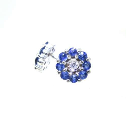 Sapphire & Diamond Cluster Earrings