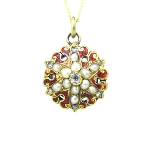 Antique Diamond & Pearl Necklace