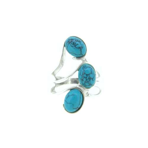 Turquoise Three Stone Silver Ring