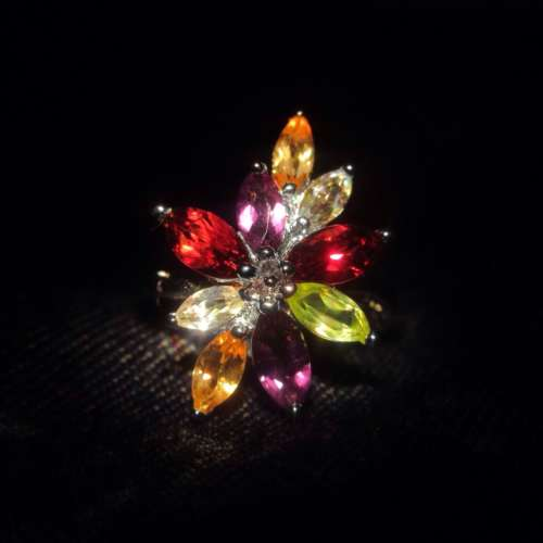 Silver & Coloured Cubic Zirconia Ring
