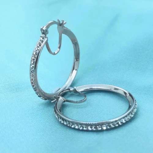 Silver & Cubic Zirconia Hoop Earrings