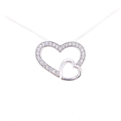 Silver & Cubic Zirconia Heart Pendant