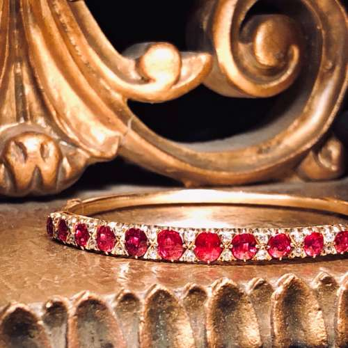 Antique 18ct Gold Ruby & Diamond Bangle