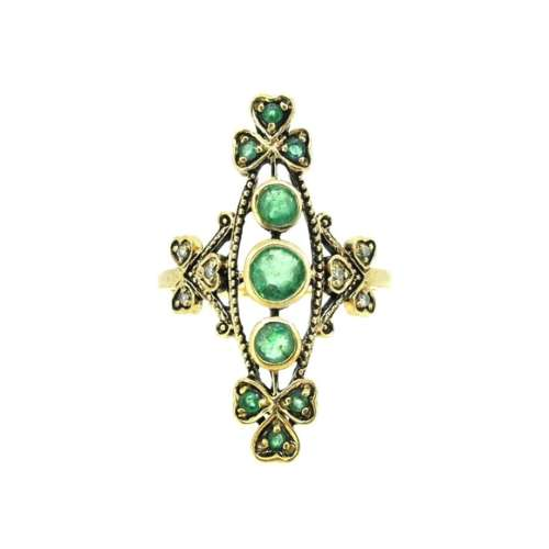 Vintage Style Re-Production Emerald Ring