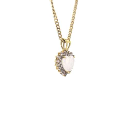 Opal & Diamond Heart Necklace