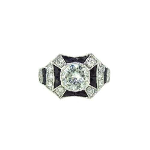 Black Onyx & Diamond Ring