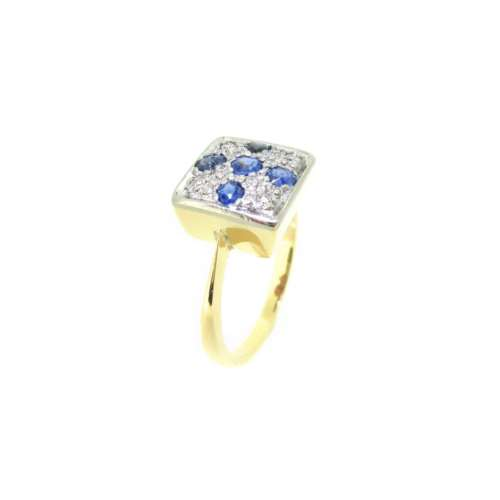 Art Deco Sapphire & Diamond Panel Ring