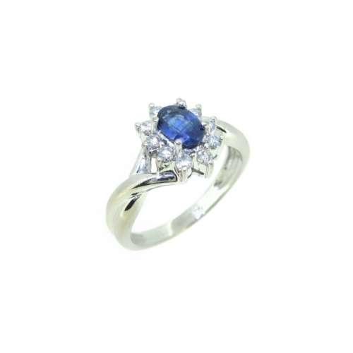 Sapphire & Diamond Daisy Cluster Ring