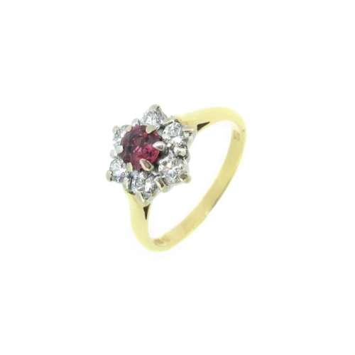 Ruby & Diamond Cluster Ring