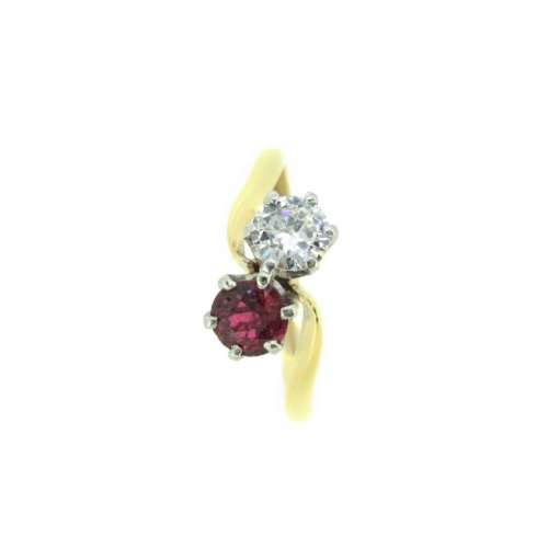 Ruby & Diamond Two Stone Ring