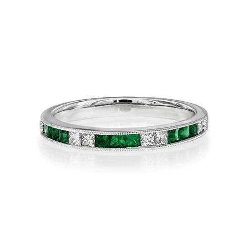 Emerald & Diamond Half Eternity Ring