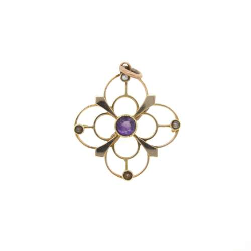 Antique Amethyst & Pearl Pendant