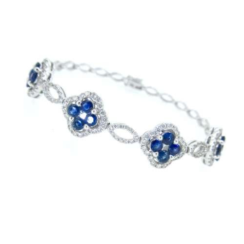 Sapphire & Diamond Cluster Bracelet