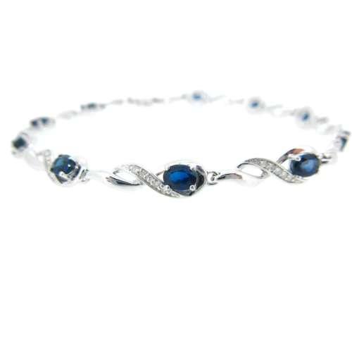 Sapphire & Diamond White Gold Bracelet