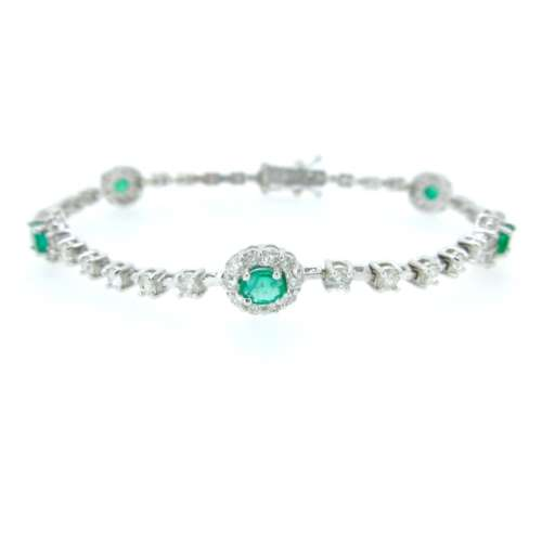 Emerald & Diamond White Gold Bracelet