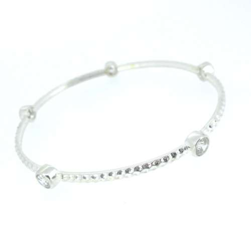 Silver & Cubic Zirconia Bangle