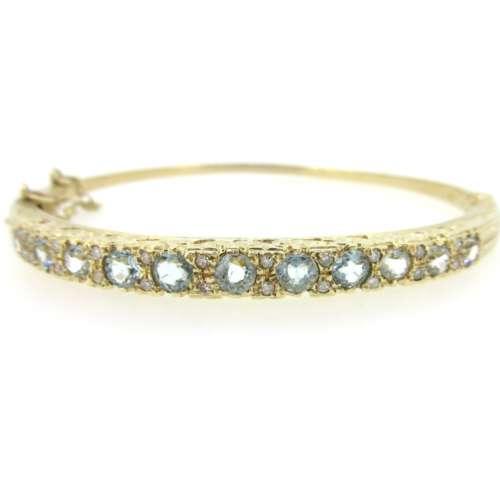 Aquamarine & Diamond Bangle