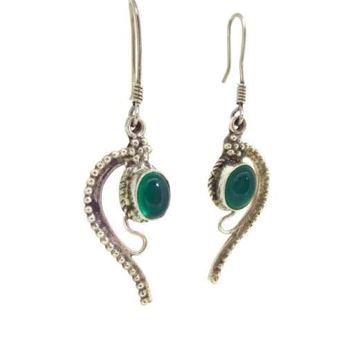 Silver Green Agate Earrings