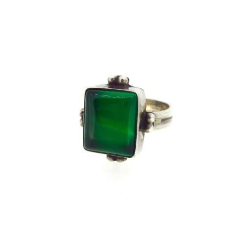 Silver & Green Agate Ring