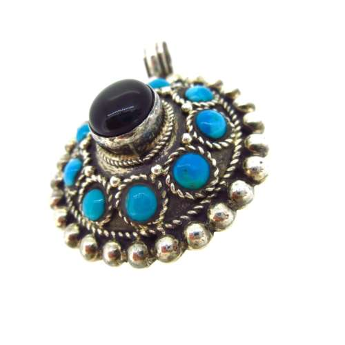 Turquoise & Onyx Silver Pendant