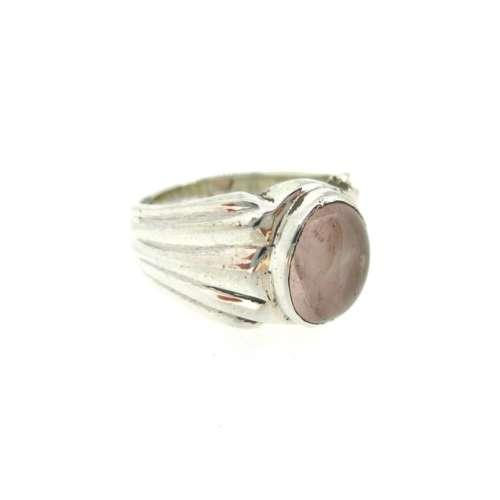 Silver & Rose Quartz Ring