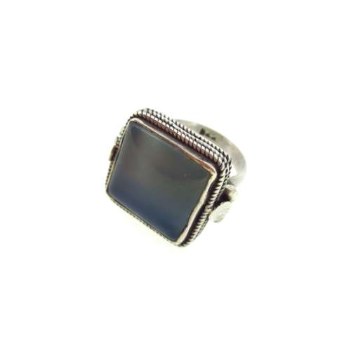 Silver & Blue/Grey Agate Ring