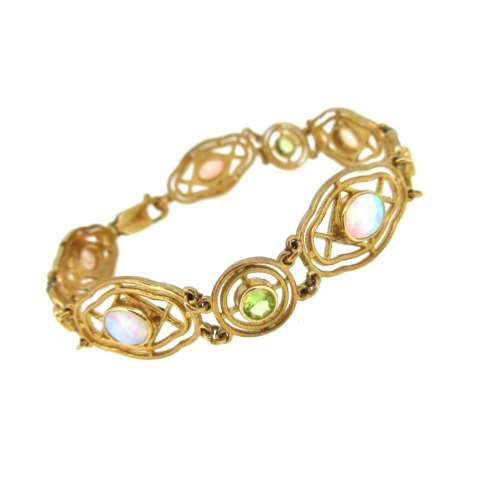Peridot & Synthetic Opal Bracelet
