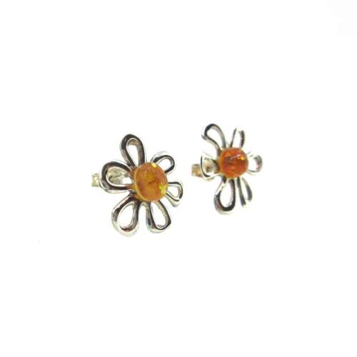 Amber & Silver Daisy Earrings