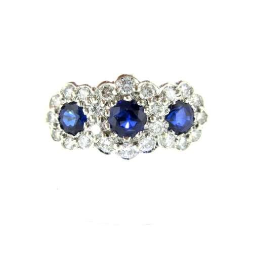 Sapphire & Diamond Triple Daisy Ring