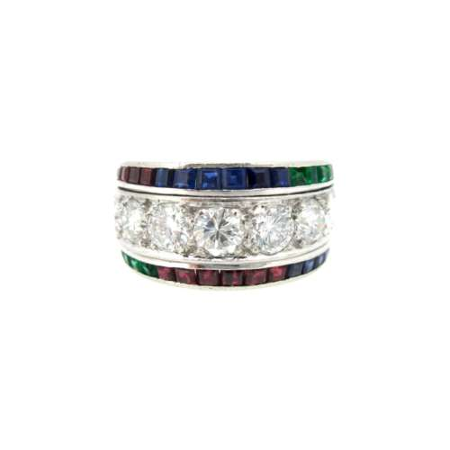 Multi Gem & Diamond Ring