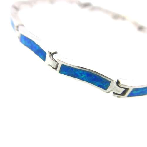 Silver & Synthetic Opal Bracelet