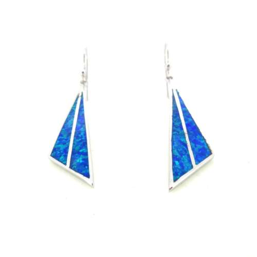 Silver & Synthetic Opal Earrings