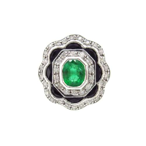 Emerald, Diamond & Onyx Ring