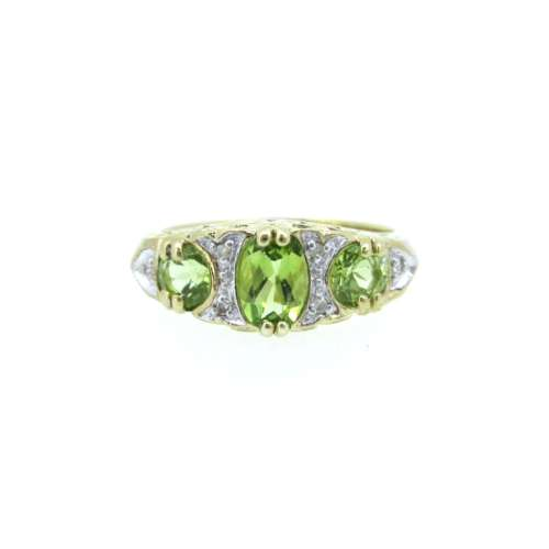 Peridot & Diamond Antique Style Ring
