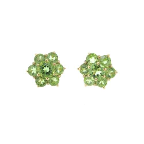 Peridot Daisy Cluster Earrings