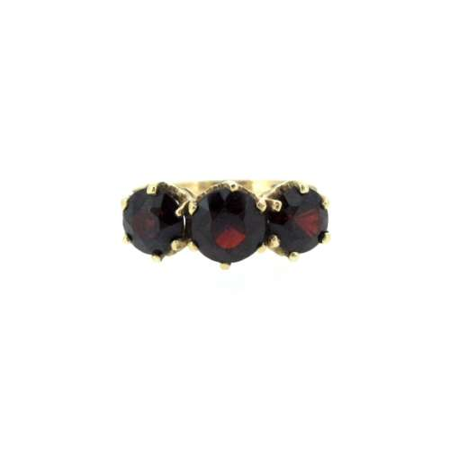 Garnet Three Stone Ring
