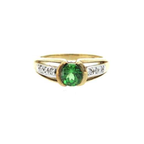 Green Garnet & Diamond Ring