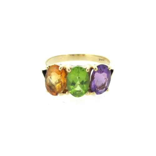 Three Coloured Stone 14ct Gold Ring