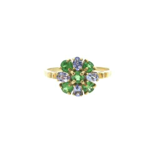 Tanzanite & Green Garnet Daisy Ring