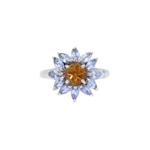 Tanzanite & Citrine Daisy Cluster Ring