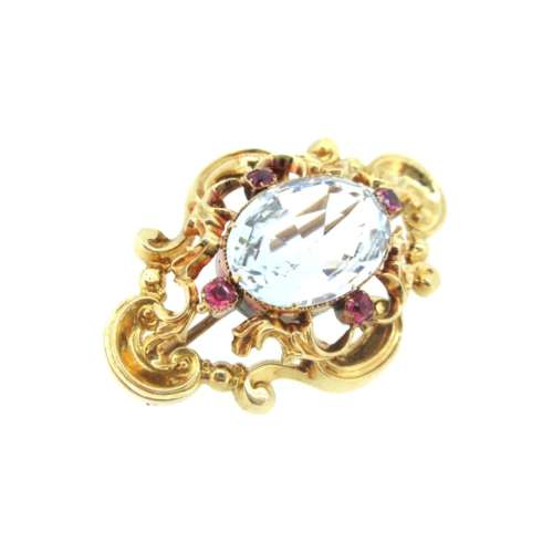 Antique Aquamarine & Ruby Brooch