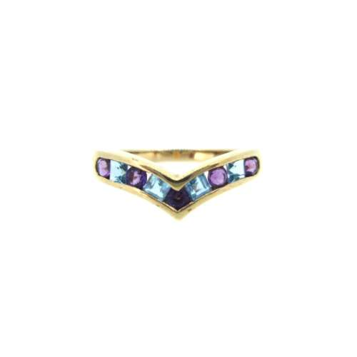 Blue Topaz & Amethyst Ring