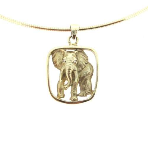 Gold & Diamond Elephant Necklace