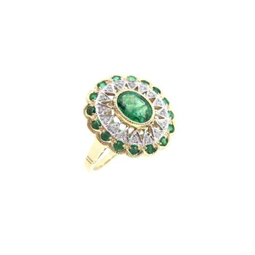 Emerald & Diamond Vintage Style Ring
