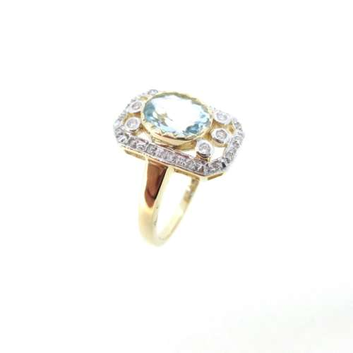 Aquamarine & Diamond Vintage Style Ring