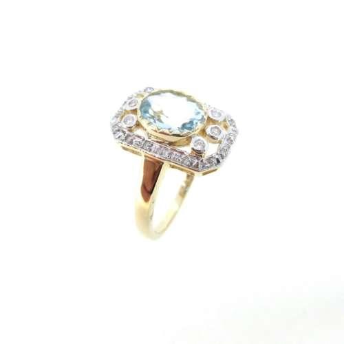 Aquamarine & Diamond Vintage Style Ring
